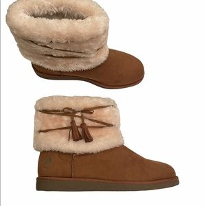 Airwalk slip on faux suede and faux fur ankle boots size 10